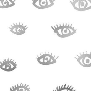 Watch me watching you pop minimal trend eyes eye lashes raw drawing ink metallic silver gray white