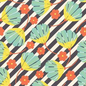 Spring Floral on Black Stripes