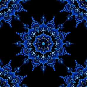 Noir Mandala Blue on Black - Medium