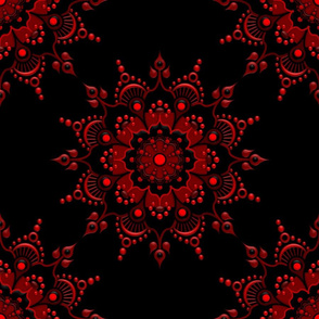 Noir Mandala Red on Black - Medium