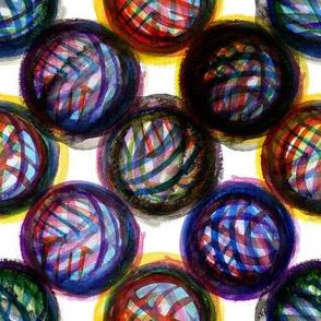 Abstract watercolor yarn balls