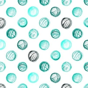 Aqua Watercolor Yarn balls