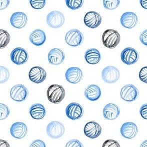 Blue Watercolor Yarn Balls