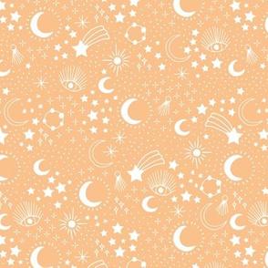 Mystic Universe party sun moon phase and stars sweet dreams sunset orange honey