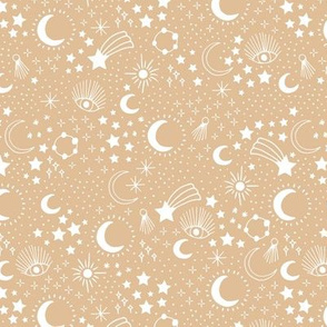 Mystic Universe party sun moon phase and stars sweet dreams ginger beige sand