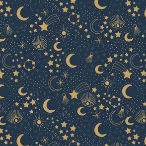 Mystic Universe party sun moon phase and stars sweet dreams navy blue night golden brown