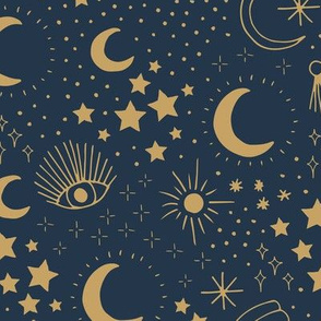 Mystic Universe party sun moon phase and stars sweet dreams navy blue night golden brown LARGE