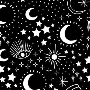 Mystic Universe party sun moon phase and stars sweet dreams monochrome black and white night LARGE