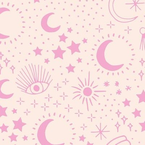 Mystic Universe party sun moon phase and stars sweet dreams pale peach pink girls LARGE