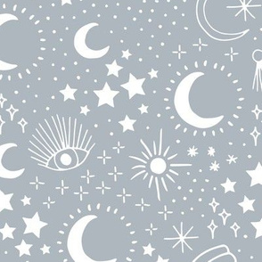 Mystic Universe party sun moon phase and stars sweet dreams cool blue gray boys LARGE