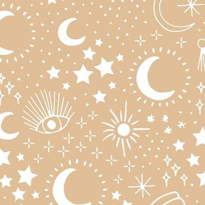 Mystic Universe party sun moon phase and stars sweet dreams ginger beige sand LARGE
