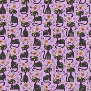 Black Cats & Flowers on Light Purple Smaller 1,5 inch