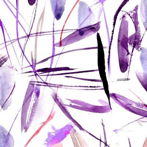 Purple Tuscan bushes - watercolor abstract grass p291