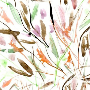 Fall Tuscan bushes - painted watercolor abstract grass for modern home decor, bedding, nursery