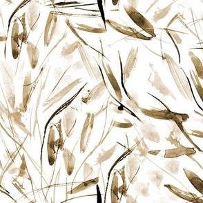 Earthy boho Tuscan bushes - watercolor abstract grass p291