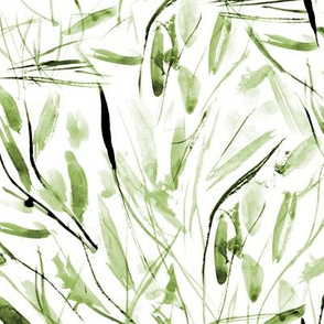 Khaki Tuscan bushes - watercolor abstract grass for modern natural home decor, bedding, nursery