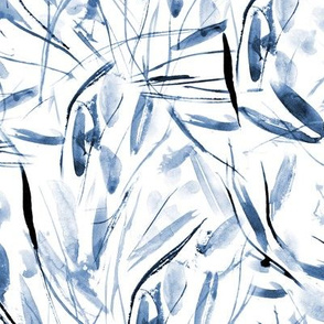 Indigo Tuscan bushes - watercolor abstract grass p291