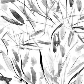 Noir Tuscan bushes - grey watercolor abstract grass p291