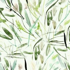 Khaki Tuscan bushes - watercolor abstract grass 291