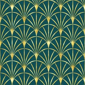 Art Deco emerald green thin gold fans Wallpaper Fabric