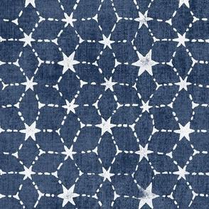 Constellations Block Print in Blue Grey Denim (xl scale) | Geometric stars fabric, Moroccan tile pattern, faded denim boho print.