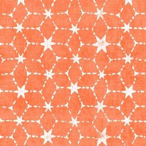Constellations Block Print in Tangerine (xl scale) | Geometric stars fabric, Moroccan tile pattern, bright orange boho print.