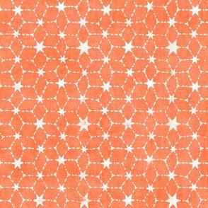 Constellations Block Print in Tangerine | Geometric fabric, stars fabric, Moroccan tile pattern, bright orange boho print.