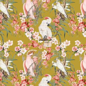 BARKCLOTH BIRDS (OLIVE)