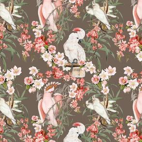 BARKCLOTH BIRDS (TAUPE)