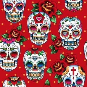 oldschool tattoo sugar skulls red