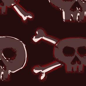 Pirate's Life - Dark Red Burgundy Subtle Skulls and Crossbones - Jumbo