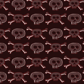 Pirate's Life - Dark Red Burgundy Subtle Skulls and Crossbones - Small