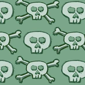 Pirate's Life - Mint Green Subtle Skulls and Crossbones - Large