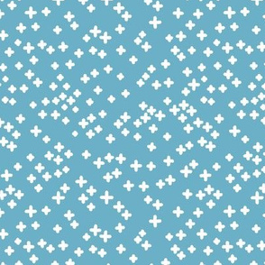 Hand drawn crosses on the blue background.