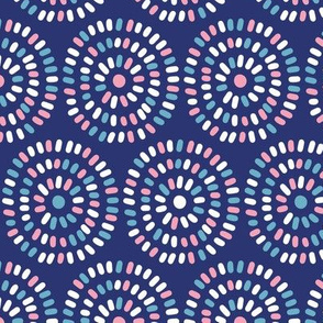 Abstract colored circles on blue background
