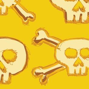Pirate's Life - Yellow Gold Subtle Skulls and Crossbones - Jumbo