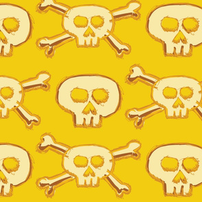 Pirate's Life - Yellow Gold Subtle Skulls and Crossbones - Large