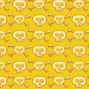 Pirate's Life - Yellow Gold Subtle Skulls and Crossbones - Medium