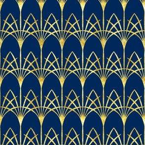 Art Deco cobalt blue thin gold arcades Wallpaper Fabric
