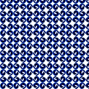 Modern Circles Dots Blue and white artistic