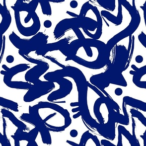 Moroccan Blue and white artistic abstract paint graphic lines dots paint