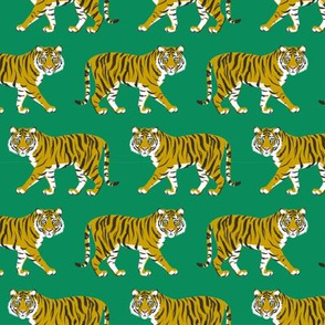 Tiger Parade -Ochre on Emerald small by Heather Anders