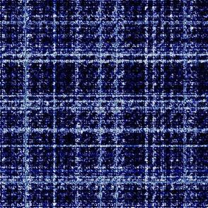 Modern Tweed navy cobalt blue and white plaid