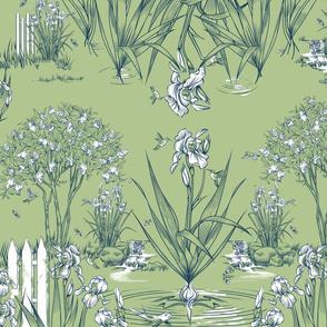 Toile Iris Pond Pattern   Celery Green+Navy+White