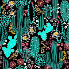 Sonoran Landscape (Teal and Coral)
