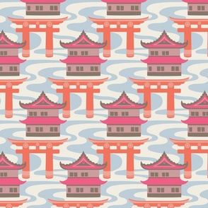 Edo Japanese Castles and Torii Gates with Flowing River - UnBlink Studio by Jackie Tahara