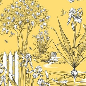 Toile Iris Pond Pattern Small | Sunny Yellow+Black+White