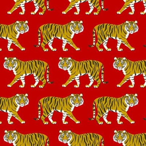 Tiger Parade -Ochre on Red small by Heather Anderson
