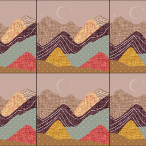 6 loveys: layered mountain // spice no. 2, coral gold, dusty rose, medallion, laurel x, sunset, 26-13 x