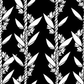 Ti leaf & pikake lei Black & white